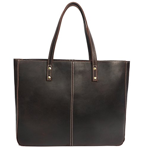Polare Vintage Full Grain Leather Tote Bag Elegant Shopper Shoulder Bag