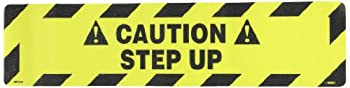 "NMC WFS623 Walk On Floor Sign, Legend ""!CAUTION! - STEP UP"", 24"" Length x 6"" Height, Pressure Sensitive Vinyl, Black on Yellow"