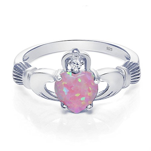 Sterling Silver Claddagh Promise Ring For Her with lab-created Light Pink Opal And Cubic Zirconia, 8mm (11) ()