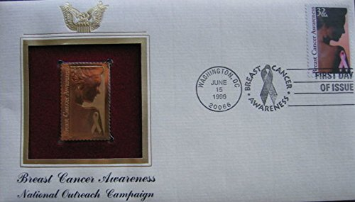 1996 Breast Cancer Awareness 22kt Gold Golden Cover replica Stamp ()