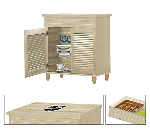 NEW! Kitchen Buffet Hutch with Drawer in a Beige Whitewash Finish Featuring the Choice of Your Favorite Sports Team Logo Decal-KITCHENWARE NOT INCLUDED (Kings) by The Furniture Cove