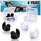 VIRIITA Swimming Ear Plugs, 4 Pairs Waterproof Reusable Silicone Ear Plugs, Swimming Ear Plugs for Adults Kids, for Swimmers Showering Bathing Surfing and Other Water Sports