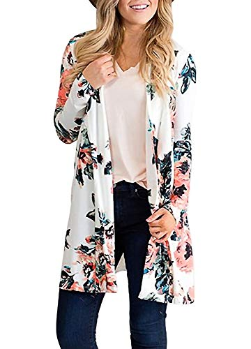 Floral Spring Womens Cardigans Floral Print Long Sleeves Peony Print Plus Size Coverup XL ()
