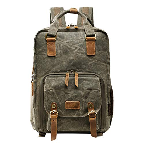Vintage Photography Backpack Hot Premium Multi-Functional Military Style Canvas Backpack Rucksack,Waterproof Photography Canvas Bag for Camera, Lens and Accessories (Army Green) by Outsta (Image #7)