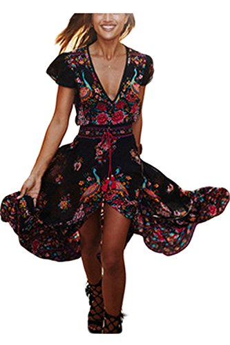 Mujer Cuello De Maxi En Estampado Manga Floral Verano Floja Dress Long V Black Corta Swing nqI5xWdn7