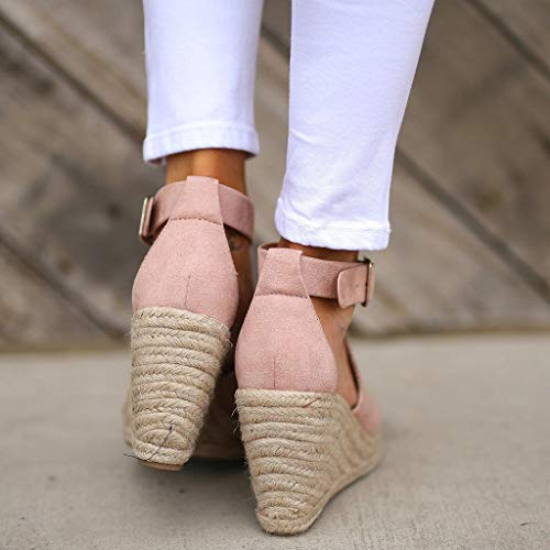 CCOOfhhc Women's Wedge Sandals Casual Sandals Shoes Summer Adjustable Ankle Buckle Open Toe Wedges Heels Pink by CCOOfhhc (Image #4)