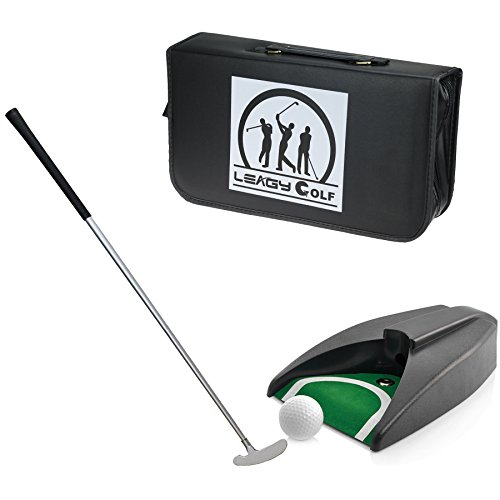 LEAGY Portable Golf Putter Travel Practice Putting Set with Case Indoor Outdoor Yard, Golfer Kids Toy Indoor Golf Games Set, Ball Return System Zink Alloy Putter Best Gift Executive Office - Golf Club Kids Green