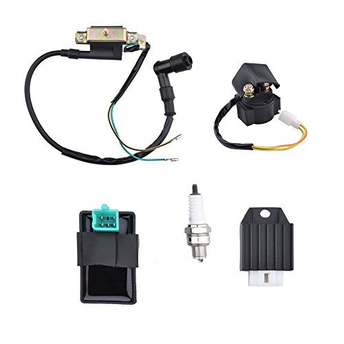 Minireen CDI Box Ignition Coil Solenoid Relay Voltage Regulator with Spark Plug for 50cc 70cc 90cc 110cc 125cc ATV Dirt Bike and Go - Kit Starter Quad