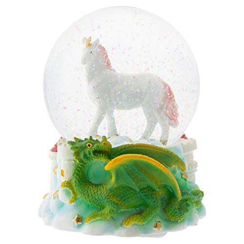 Elanze Designs Majestic Unicorn and Dragon 100MM Musical Water Globe Plays Tune You are My Sunshine