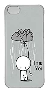Personalized Custom I Miss You for iPhone 5C PC Transparent Case