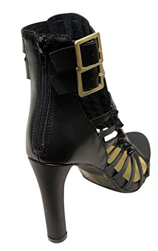 C Etichetta Vince-5 Donna Tacco Alto Fibbia Alla Caviglia Multi Straps Indietro Cerniere Pu Sandali Neri