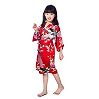 Minibaby Kids' Soft Bathrobe Little Girls Kimono Robe Peacock&Blossom Sleepwear Comfortable Loungewear(Red)