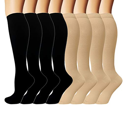 2ac8deab98 Iseasoo 7 Pack Copper Knee High Compression Socks for Men & Women-Best for  Running