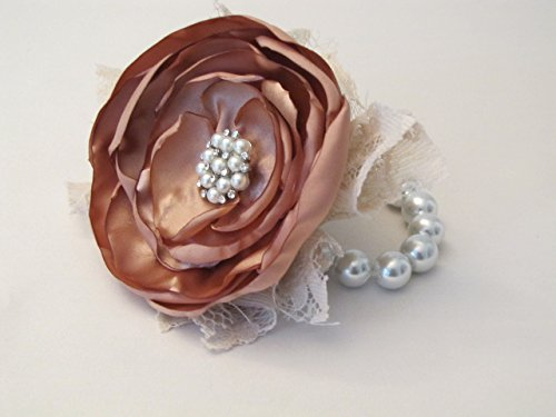 Copper Flower Brooch - Rose Gold Wrist Corsage, Rhinestone Bracelet, Copper Bridal Rustic Shabby Chic Fabric Flower, Mother of the Bride Brooch Prom Keepsake