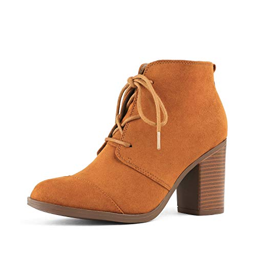 TOETOS Women's Chicago-05 Tan Suede Leather Chunky Heel Ankle Boots Size 7 M US