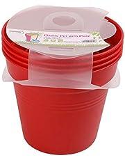 وعاء زرع بلاستيك بالطبق من مينترا، 15سم، عبوة 4، أحمر