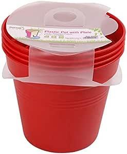 وعاء زرع بلاستيك بالطبق من مينترا، 19سم، عبوة 4، أحمر