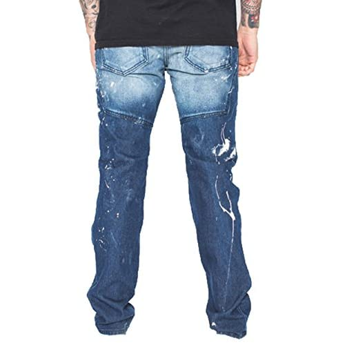 Golden Denim Biker Saga Painter Men's Jeans in Blue chic