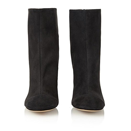 4 Botas 5 Alto 5 EUR Áspero Tobillo Gamuza Ronda Invierno Cabeza BLACK Negro Marrón 37 Zapatos Spring Mujeres UK NVXIE Otoño EUR35UK3 Talón Cómodo nxfEHH