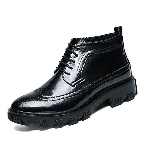 ruggine Casual Uomo Pelle Cricket Nero High Oxford Scarpe Cerniera da Brogue alla da Scarpe Business Top Singolo Resistente in Verniciata 1qxzBwE