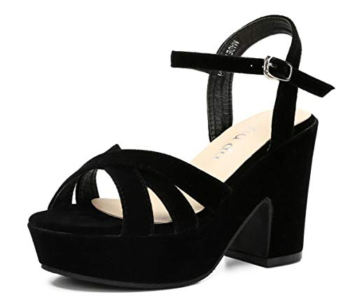 Womens Open Toe Ankle Strap Wedge Sandal Chunky Block High Heel Platform Sandals Black Velveteen Size US8.5 EU40