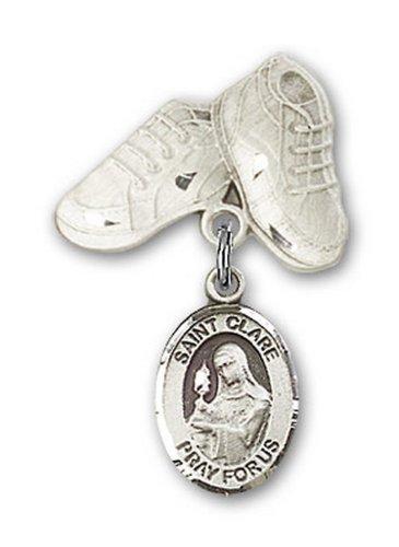 Icecarats Créatrice De Bijoux En Argent Sterling St. Claire D'Assise Charme Chaussures De Bébé Broches 1 X 5/8