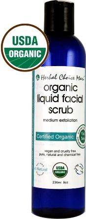 Herbal-Choice-Mari-Organic-Liquid-Facial-Scrub-Medium-Exfoliate-236ml-8oz-Bottle-Squeeze-Bottle