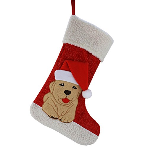 WEWILL Christmas Holiday Pet Theme Embroidered Stockings Socks, 20 Inch (Dog)