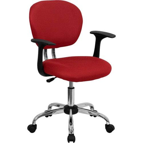 Parkside Mid-Back Red Mesh Swivel Task Chair with Chrome Base and Arms