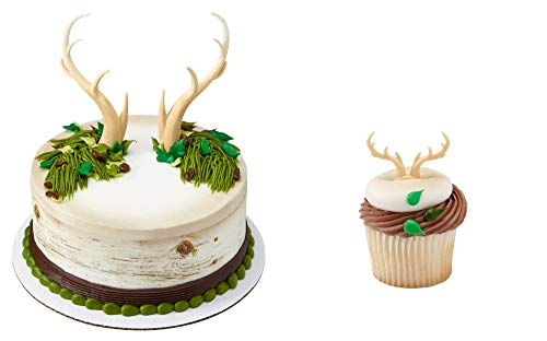 Deer Antlers Cake Topper & 12 Pack Deer Antler Cupcake -