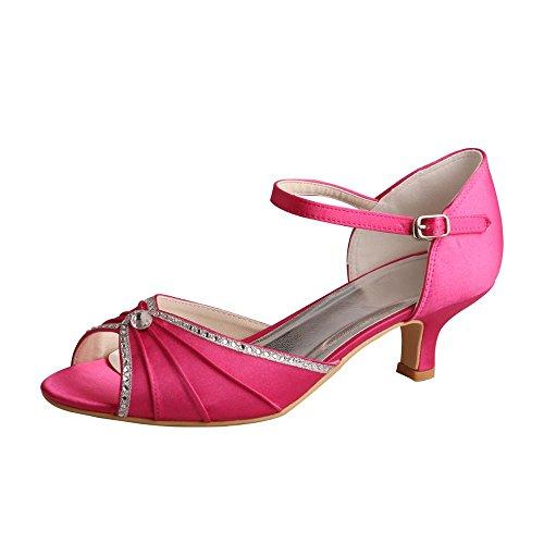 Wedopus MW033B Women's Peep Toe Mary Jane Low Heel Pleated Rhinestones Satin Wedding Prom Shoes Size 10 Fuchsia