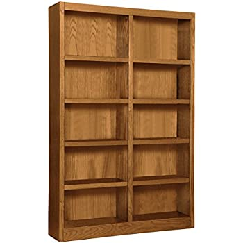 Wooden Bookshelves Double Wide 72 Bookcase Library Shelving 10 Shelves Dry Oak