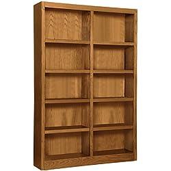 "Wooden Bookshelves Double Wide 72"" Bookcase Library Shelving 10 Shelves (Dry Oak)"