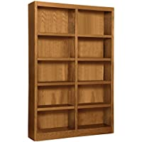 Wooden Bookshelves Double Wide 72 Bookcase Library Shelving 10 Shelves (Dry Oak)