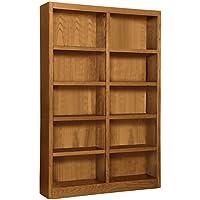 Wooden Bookshelves Double Wide 72' Bookcase Library Shelving 10 Shelves (Dry Oak)