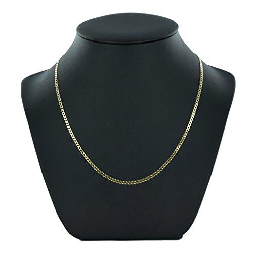 Jewellery World Bague en or jaune 9carats biseauté Chaîne gourmette-Collier Femme-2mm d'épaisseur-Différentes longueurs-16, 18, 20, 22et 61cm Long
