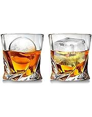 Cooko Twist Whisky Gläser, Ultra-Clarity Glas Set, Spülmaschinenfest, Wein Geschenke, 2er Set (300ML/10.6 oz)