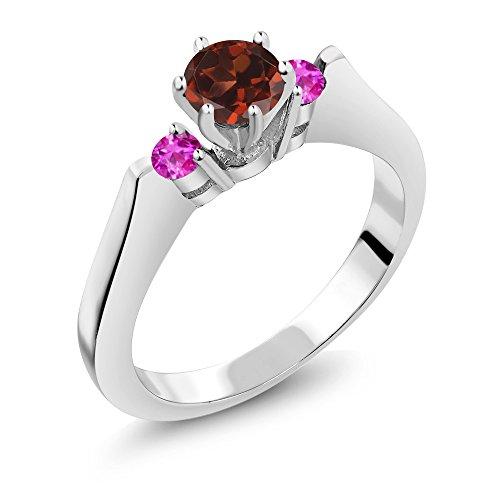 0.76 Ct Round Red Garnet Pink Sapphire 925 Sterling Silver 3-Stone (Garnet Pink Sapphire)