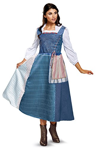 Disney Women's Belle Village Dress Deluxe Adult Costume, Multi, (Belle Dress For Adults)