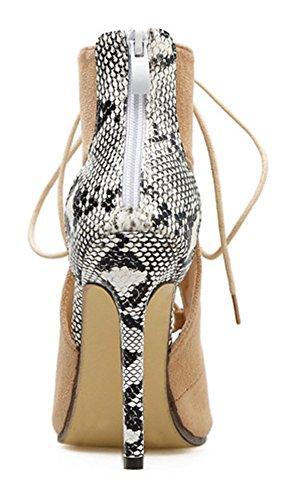 Toe Stiletto Sexy Schlangenmuster mit Aisun Cut Reißverschluss Braun Out Sommerstiefel Schnürsenkel Peep Damen IR16BSx