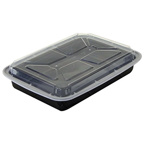 16 OZ. BLACK VERSATAINER MICROWAVEABLE RECTANGULAR BASE CONTAINER WITH CLEAR LID NEWSPRING 150 EA