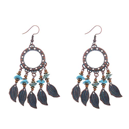 ZHUBAOO Women Wedding Tassel Earrings Jewelry Bohemian Leaf Pendant ()