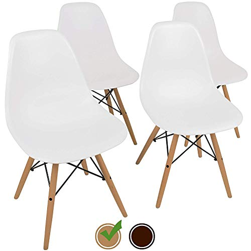 UrbanMod Mid Century Style Urban 'Easy Assemble Furniture with ErgoFlex ABS Plastic and 'One Wipe Wonder' Cleaning Comfortable Dining Meets 5-Star Modern Chair, 4, White ()