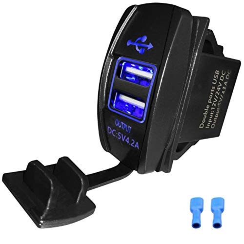 Chenes Universal Rocker Style 4.2A Dual USB Charger Socket with Blue LED for Car Marine ATV UTV Golf Carts Tractor ()