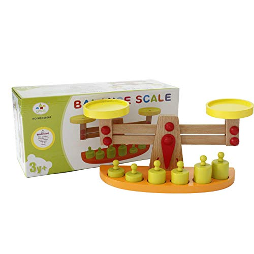 Super Cool Toys Toy Wooden Balance Scale for Kindergarten Toddlers Early Childhood Educational Gift for Kids Birthday Christmas, Includes 6 Weight