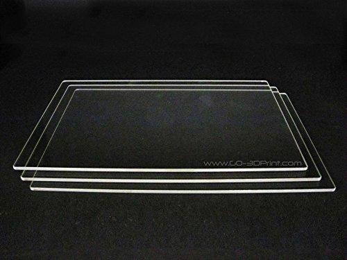 150mm x 230mm Borosilicate Glass Plate / Bed w/ Flat Polished Edge for Flashforge Creator & Makerbot Replicator 3D Printer - 3 Pack