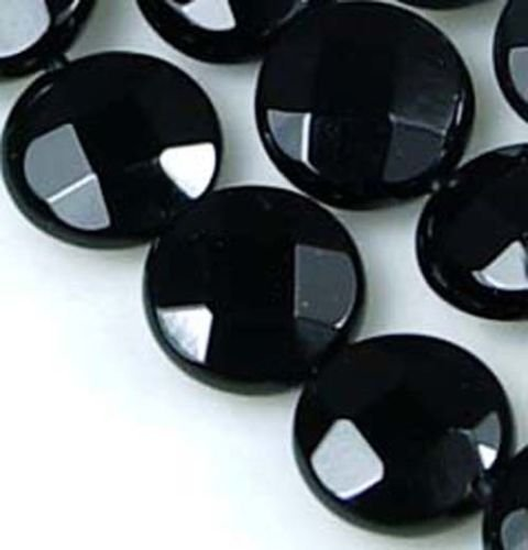 - A++ Smallest Black Onyx Faceted Disc Coin Beads (16pc)