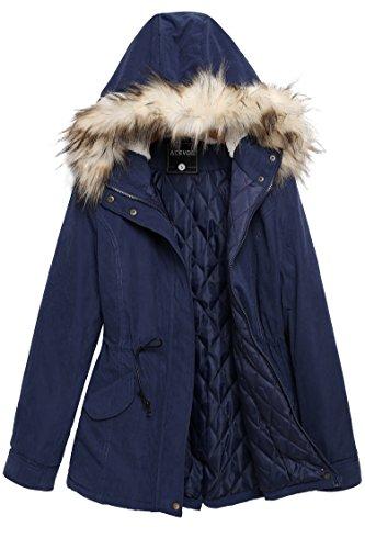 ACEVOG Abrigos Mujer parka de invierno con Capucha de Pelo Chaqueta de Algodon Azul marino