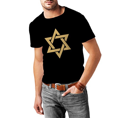 (lepni.me Men's T-Shirt Star of David - Shield of Magen David - Jewish Symbol (Medium Black Gold))