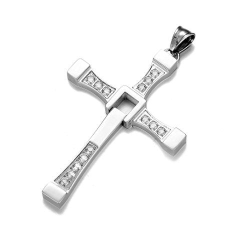 MURREAR Stainless Steel Cross Pendant Necklace Masculine Religious for Men Women 30inch Box Chain(sliver) (Cross Sliver)